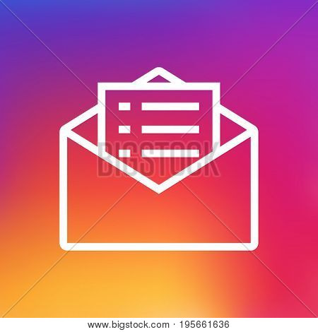 Isolated Message Outline Symbol On Clean Background. Vector Email Promotion Element In Trendy Style.