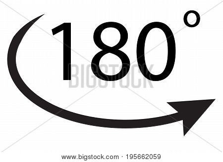 180 degrees icon on white background. 180 degrees sign.