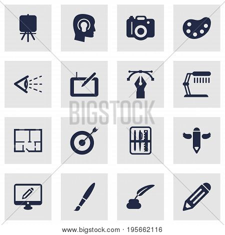 Set Of 16 Creative Icons Set.Collection Of Scheme, Brush, Gadget And Other Elements.