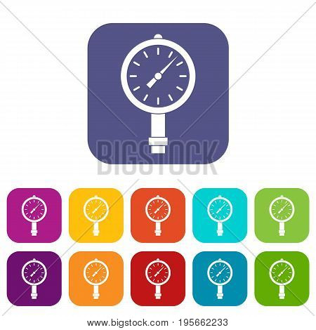 Manometer or pressure gauge icons set vector illustration in flat style In colors red, blue, green and other
