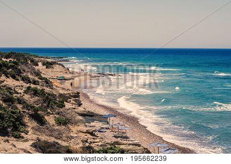 Kos Island beach in the vicinity of Kefalos. Greece Island Kos
