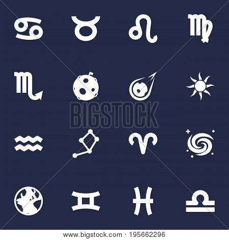 Set Of 16 Astrology Icons Set.Collection Of Lunar, Lion, Earth Planet And Other Elements.
