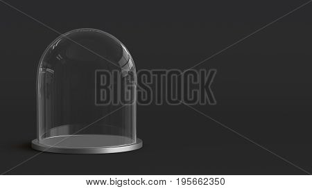 Glass dome with silver tray on dark background. 3D rendering.