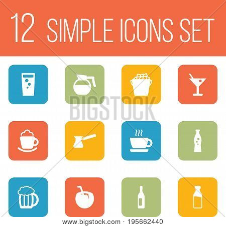 Set Of 12 Beverages Icons Set.Collection Of Wine, Teapot, Soda And Other Elements.