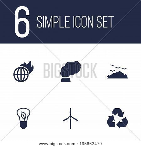 Set Of 6 Ecology Icons Set.Collection Of Fan, Saving, Contamination And Other Elements.