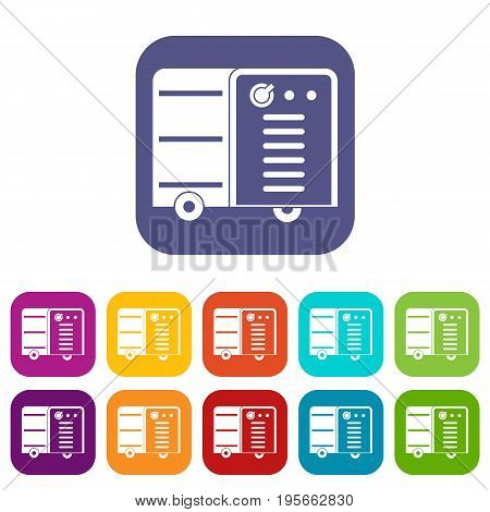 Inverter welding machine icons set vector illustration in flat style In colors red, blue, green and other