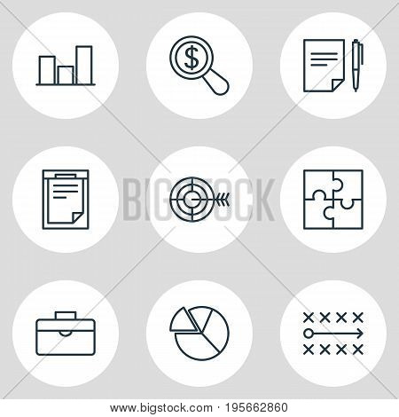 Vector Illustration Of 9 Management Icons. Editable Pack Of Magnifier, Tactics, Riddle And Other Elements.