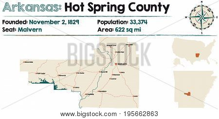 Large and detailed map of Arkansas - Hot Spring county