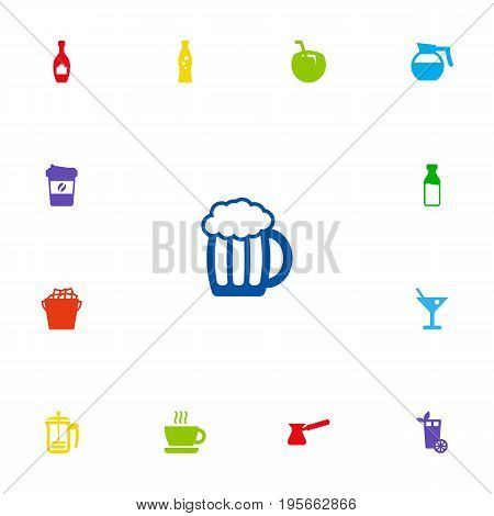 Set Of 13 Beverages Icons Set.Collection Of Fizzy Water, Pot, Alcohol And Other Elements.