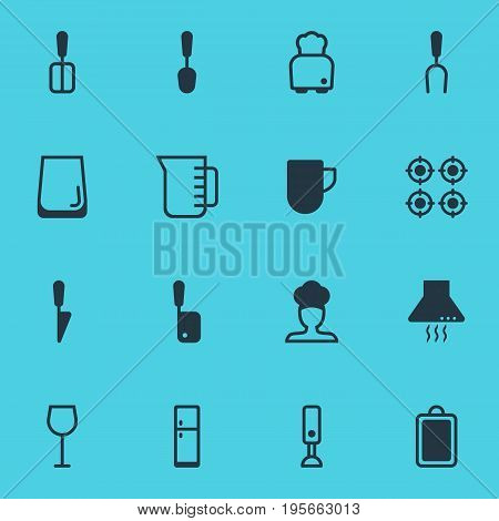Vector Illustration Of 16 Cooking Icons. Editable Pack Of Bread, Mixer, Cook And Other Elements.
