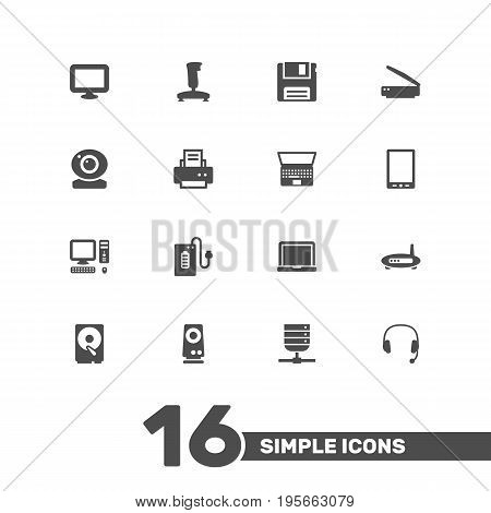 Set Of 16 Notebook Icons Set.Collection Of Joystick, Record, Datacenter And Other Elements.