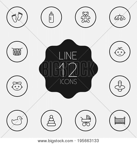 Set Of 12 Baby Outline Icons Set.Collection Of Drum, Rubber, Boy And Other Elements.