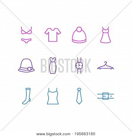 Vector Illustration Of 12 Dress Icons. Editable Pack Of Cloakroom, Hand Clock, Singlet Elements.