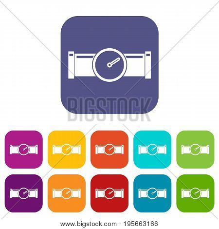 Instrument measures the pressure in the pipe icons set vector illustration in flat style In colors red, blue, green and other