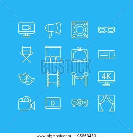 Vector Illustration Of 16 Cinema Icons. Editable Pack Of Slideshow, Resolution, Cinema Fence And Other Elements.