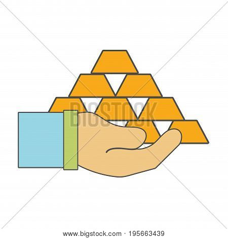 financial gold elements in the hand vector illustraton design