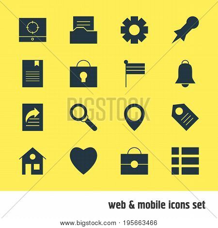 Vector Illustration Of 16 Online Icons. Editable Pack Of Map Pointer, Document Directory, Keyhole And Other Elements.