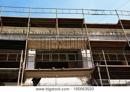 Building under construction close up. New building in the city