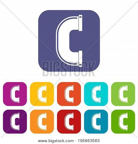 C joint pipe icons set vector illustration in flat style In colors red, blue, green and other