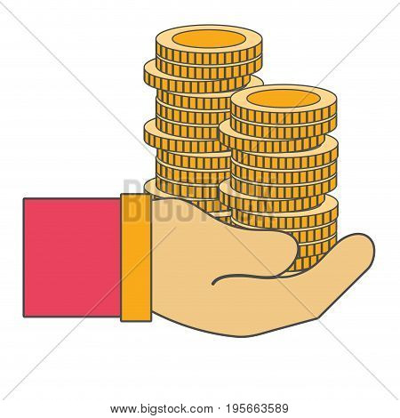 coins cash currency in the hand vector illusration design