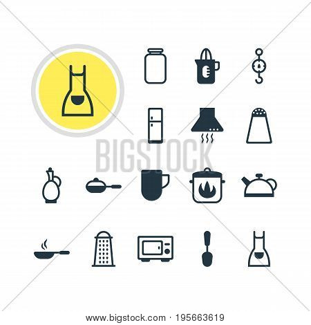 Vector Illustration Of 16 Cooking Icons. Editable Pack Of Oven, Refrigerator, Steelyard And Other Elements.