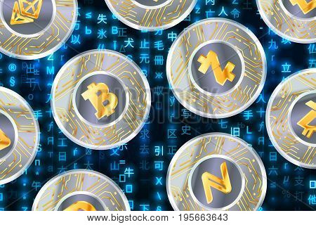 Glossy coins with microchip pattern and most popular cryptocurrency signs like Bitcoin, Ethereum, Namecoin, Dash and Zcash on blue matrix binary code, cryptocurrency concept illustration