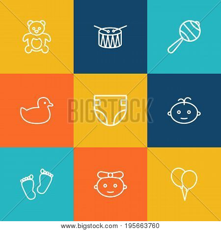 Set Of 9 Baby Outline Icons Set.Collection Of Diaper, Rattles, Footprints And Other Elements.
