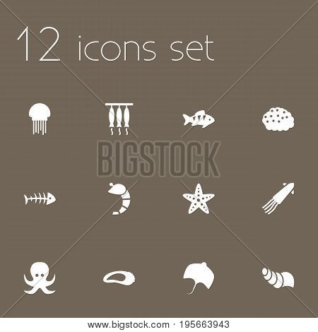 Set Of 12 Food Icons Set.Collection Of Smoked, Fish, Sink And Other Elements.
