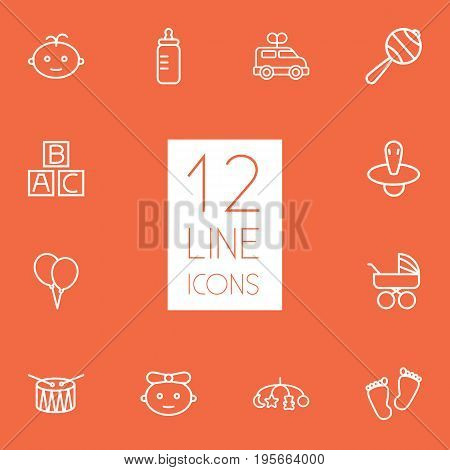 Set Of 12 Baby Outline Icons Set.Collection Of Boy, Toys, Rattles And Other Elements.