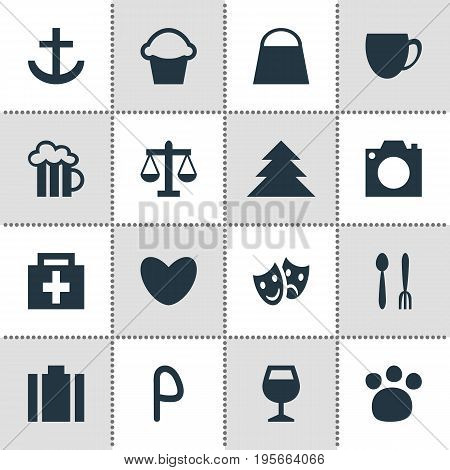 Vector Illustration Of 16 Map Icons. Editable Pack Of Beer Mug, Jungle, Coffee Shop And Other Elements.