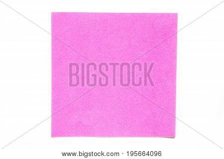 Pink color paper sheet on white background used for decoration or design element