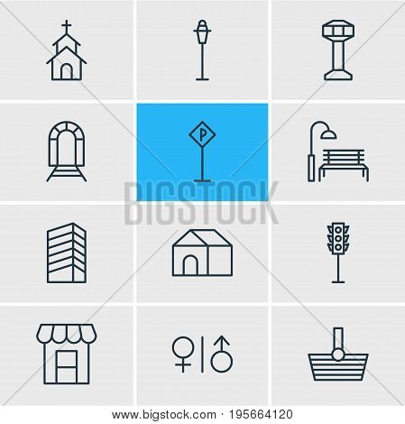 Vector Illustration Of 12 Urban Icons. Editable Pack Of Lamppost, Subway, Toilet And Other Elements.