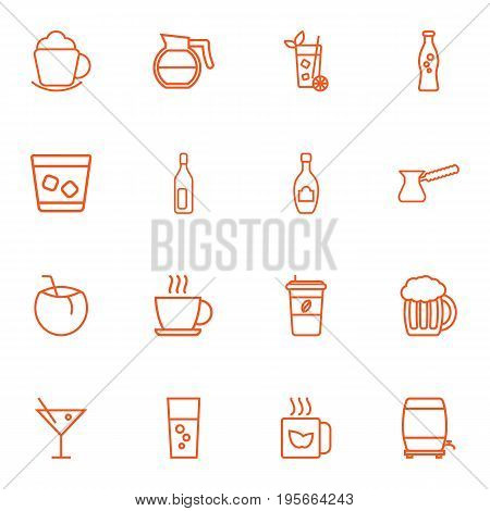 Set Of 16 Drinks Outline Icons Set.Collection Of Cappuccino, Beer, Soda And Other Elements.