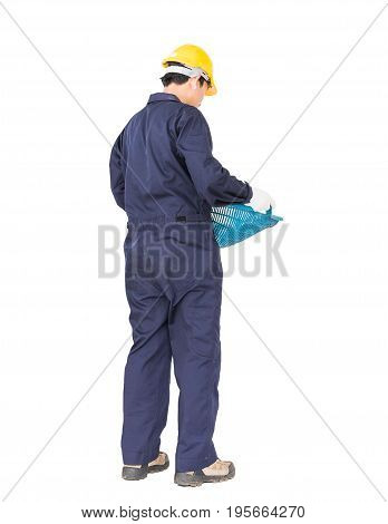 Young Worker Hold Hod Or Clam-shell Shaped Basket