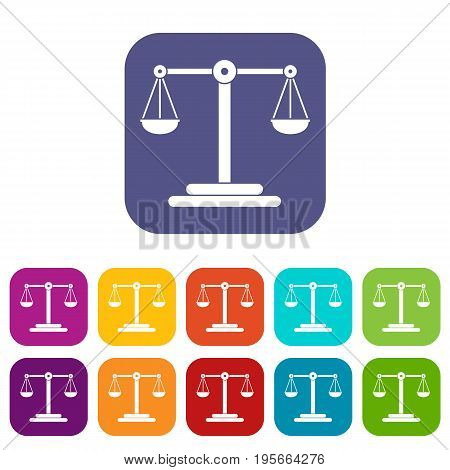 Scales balance icons set vector illustration in flat style In colors red, blue, green and other