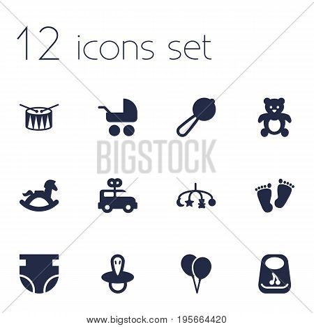 Set Of 12 Baby Icons Set.Collection Of Hangings, Breastplate, Nappy And Other Elements.