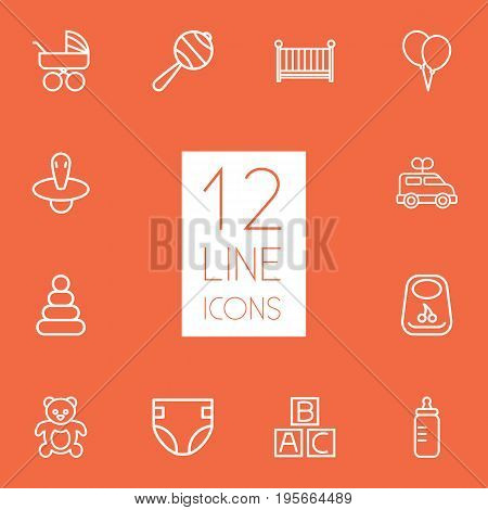 Set Of 12 Baby Outline Icons Set.Collection Of Diaper, Nipple, Clockwork Car And Other Elements.