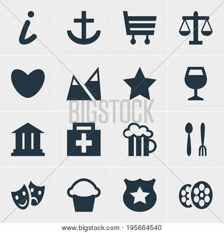 Vector Illustration Of 16 Travel Icons. Editable Pack Of Heart, Shopping Cart, Masks And Other Elements.