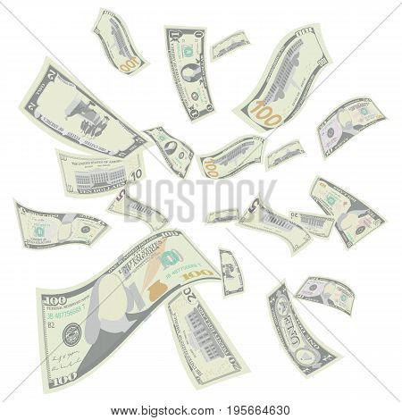 Flying Dollar Banknotes Vector. Cartoon Money Bills Banknotes. Falling Finance. Rain From Dollars Isolated. Transparent Background. Illustration