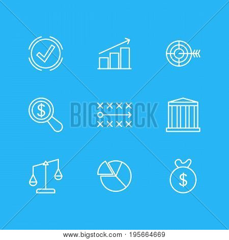 Vector Illustration Of 9 Management Icons. Editable Pack Of Building, Balance, Solution And Other Elements.