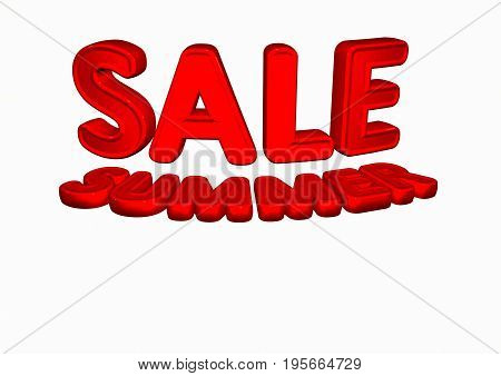 Dimensional inscription of SUMMER SALE isolated on background. 3D rendering.