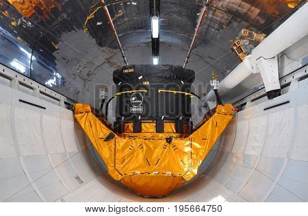 FLORIDA, USA - DEC 20, 2010: Space Shuttle Explorer Cargo Bay. Explorer is a life-size replica of the Space Shuttle at Kennedy Space Center in Cape Canaveral, Florida, USA.