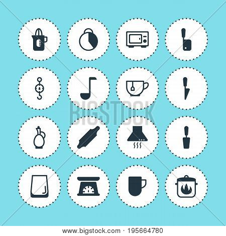 Vector Illustration Of 16 Restaurant Icons. Editable Pack Of Shaker, Kitchen Dagger, Measuring Tool And Other Elements.