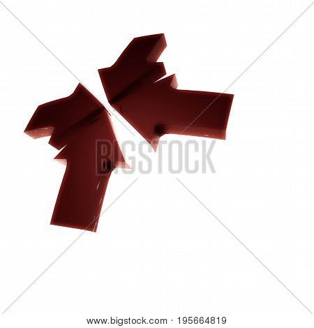 Four red arrows pointing from all quarters to the center. 3D rendering
