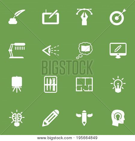 Set Of 16 Constructive Icons Set.Collection Of Writing, Science, Scheme And Other Elements.