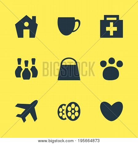 Vector Illustration Of 9 Check-In Icons. Editable Pack Of Skittles, Aircraft, Film And Other Elements.