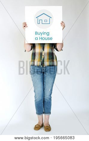 Woman holding billboard covering face network graphic overlay