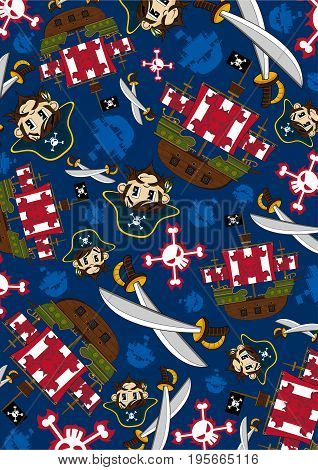 Cute Cartoon Pirate Buccaneer with Pirates Ship Pattern