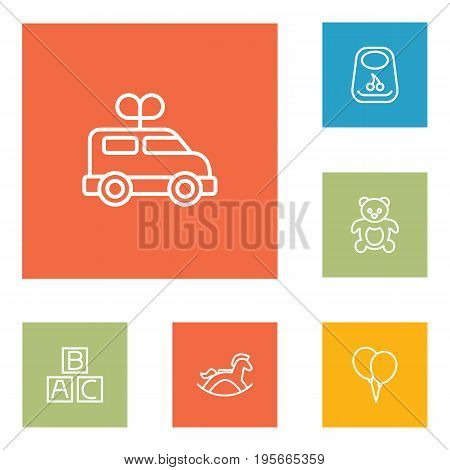 Set Of 6 Child Outline Icons Set.Collection Of Clockwork Car, Teddy, Rocking Horse And Other Elements.