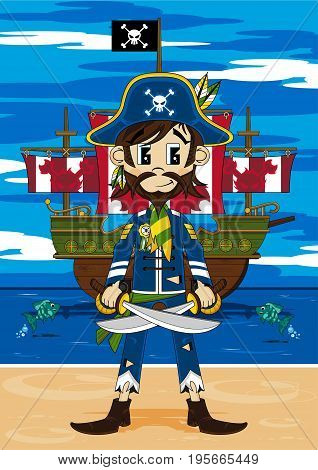Cute Cartoon Pirate Buccaneer with Pirates Ship